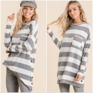 SOFT AND COZY STRIPED SWEATER TUNIC-HEATHER GREY